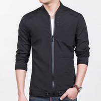 Wholesale korean long vest coat - New 2017 Men Jacket Solid Fitted Baseball Collar Buttons Coat Male Korean Design Slim Fit Bomber Jackets and Coats Plus Size 5XL