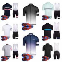 Wholesale men wearing spandex - 2018 Rapha team Cycling Short Sleeves jersey (bib) shorts sets Summer Cycling Shirts Bike Wear Comfortable Breathable Hot New E1805