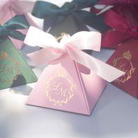 kırmızı şeker kutuları toptan satış-Kişiselleştirilmiş düğün şeker kutuları Pembe Kırmızı Yeşil Gelin duş parti iyilik sahipleri 200 adet lot toptan ücretsiz kargo