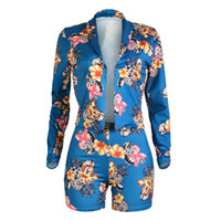 langarm frühling anzug frauen großhandel-Mode Frauen Zwei Stücke Shorts Set Frühling Herbst Langarm Blumendruck Outfits Elastische Taille Shorts Mädchen Anzug Sets S-XL
