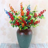 ingrosso steli artificiali bacche rosse-Fake Long Stem Berry (4 steli / pezzo) Simulazione Red Fruit for Wedding Home Decorative Artificial Fruits