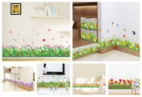 Wholesale grass decals - % DIY wall stickers home decor Nature Colorful Flowers Grass dragonfly stickers muraux 3d Wall Decals floral pegatinas de pared