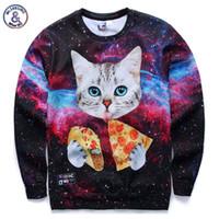 Wholesale Galaxy Cats Sweatshirts - Hip Hop New Galaxy 3d sweatshirts for men women casual hoodies funny print stars night cat eating Pizza hoodies