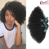 bakire kıvırcık afro örgü toptan satış-Fabrika-Doğrudan 8A Perulu Afro Kıvırcık Saç Paketler% 100% Brezilyalı İnsan Virgin Saç Uzantıları Brezilyalı Kıvırcık Saç Afro Örgüleri