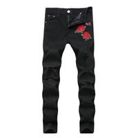 ingrosso fiori ricamati neri-Jeans Hip-hop Jeans strappati neri con ricamo Uomini con fiori Jeans denim uomo ricamato rosa elasticizzato Pantaloni buco skinny