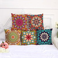 Hyha Mandala Flower Print Cotton Flax Pillow Case Cover Car Sofa Pillow Sham Armchair For Living Room Bedroom Study Room Dining Room Hotel