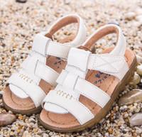 ingrosso singoli ragazzi da spiaggia-vera pelle scarpe per bambini ragazzi sandali di vacchetta mezza buca scarpe singole casual comode scarpe da spiaggia estate maschile per i bambini