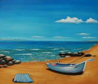 plaj soyut tuval duvar sanatı toptan satış-Handpainted Modern soyut Deniz Manzarası tekne yağlıboya Natürmort Mavi deniz ve plaj üzerinde tuval Duvar Sanat tuval Oturma Odası Ev Dekor