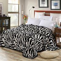 Wholesale zebra bedding king - Super Comfortable Soft Mink Felting Blanket Zebra Striped Pattern Floral Blanket Thrown On The Sofa   Bed   Travel Breathable