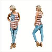 Wholesale america cool - Women Fashion Split Vest America Independence Day Girls Clothes Summer Sleevess Cool Loose Causal Outfits Maternity Tops
