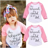 Wholesale baby clothes factory for sale - Pink Long Sleeve White T shirt Inspirational Letter Print Fashion Baby Girl Clothes Kid Clothing Cotton Toddler Top T Factory Tops B11