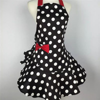 vestidos de pinafore venda por atacado-Querida Retro Cozinha Avental Mulher Polka Dot Cooking Salon Avental De Cozinha Divertido Pinafore Vestido De Tablier Do Vintage