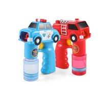 Wholesale Engine Machine - 2018 New Outdoor Automatic Electric Toy Car Fire Engine Soap Blow Bubbles Gun Machine Music Light Water Gun Kids Game Bubble