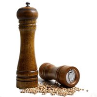 Wholesale adjustable pepper grinder - 5 8 10 Inch Manual Oak Grinder Mills Adjustable Kitchen Tool for Cruet Pepper Wooden Condiment Spice Salt Corn