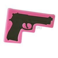 ingrosso stampi di gelatina-Forma di pistola pistola fai da te fondente sapone 3d torta stampo in silicone cupcake gelatina caramelle di cioccolato decorazione strumento di cottura stampi FQ3320