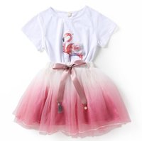 Wholesale kids beach outfits for sale - Group buy Baby girl clothes Flamingos outfits children top lace Tulle skirts set Summer suits kids Clothing Sets colors