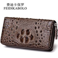 Wholesale Double Long Pillows - FEIDIKABOLO 3D Embossing Alligator Fashion Crocodile Long Clutch Wallets men Double zipper Leather Men's Purse Business Carteras