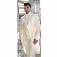 corbata de champán al por mayor-Champagne Tailcoat Hombre Esmoquin de boda Morning Style novio esmoquin Peak Lapel One Button Hombre Cena Ropa de baile (Chaqueta + Pantalones + Tie + Vest) 1750