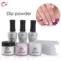 Wholesale natural french manicure - TP French White Nail Tips Dipping Powder No Lamp Cure Nails Dip Powders Transparent French Manicure Natural Dry For Nail Salon