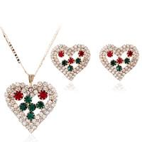 conjuntos de joyas de cristal de corea al por mayor-Corazones de lujo de la Mujer Corazones de Cristal Rhinestone Collar Aretes Establece Boda Nupcial Conjuntos de joyería