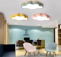 dormitorio de niñas luz de techo al por mayor-Nordic lámpara de techo ultra-delgada nube creativa log macaron dormitorio lámpara niño niña simple sala de niños LED iluminación de techo-I9