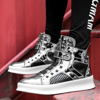 Wholesale cosplay sandals for sale - Men Hook Loop Ankle Boots Party Wedding Casual Leisure Shoes Street Dancing Shoes Flat Sandals Cosplay Style Metal Rivet Upper Black Silver