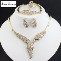 Wholesale Dress Jade Color - jiayijiaduo wedding jewelry set african beads gold-color necklace earrings bracelet winter for women elegant dress accessories