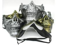 skelettmaske airsoft großhandel-CS Schädel Skeleton Maske Airsoft Paintball Unteren Halbe Gesichtsschutzmaske Für Halloween Karneval Party Geschenk DDA611
