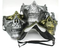 máscara facial de la media del cráneo del airsoft al por mayor-CS Skull Skeleton Mask Airsoft Paintball Máscara Máscara Protectora de Mitad Media Para Halloween Carnaval Party Gift DDA611