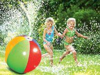 schwimmende wasserkugel großhandel-75 CM Aufblasbare Strand Wasser Ball Spaß Spray Outdoor Sommer Wasser Float Spielzeug Rasen Sprinkler Hause Kinder Kinder Spielzeug