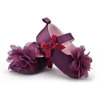 фиолетовые детские сапоги оптовых-Роза цветок младенческой Детская обувь малыша фиолетовый противоскользящая обувь первые ходунки мягкая подошва противоскольжения малыша детские Prewalker сапоги D3