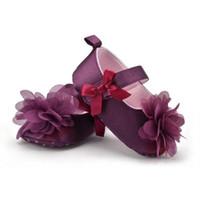 ingrosso stivali neri viola-Rose Flower Infant scarpe da bambino Toddler viola antiscivolo Scarpe primi camminatori Soft Sole antiscivolo Toddler bambino Prewalker Stivali D3