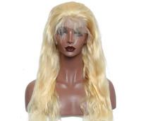 парик человеческих волос светлой волны оптовых-Объемная волна полный парик шнурка 613# блондинка для женщин с волосами младенца Glueless бразильские Виргинские парики человеческих волос