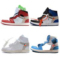 top-athletic-marken großhandel-Hot 1 Basketball Schuhe UNC Mens Marke Athletic Sport Sneakers Outdoor Trainer Rot Blau Weiß Top Qualität Doppel Boxed