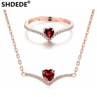 conjunto de joyas de granate 925 al por mayor-SHDEDE 925 accesorios de plata esterlina corazones creativos Red Garnet Necklace Rings jewelry sets accesorios de moda