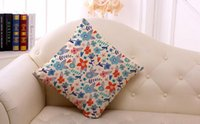 Wholesale Pillow Covers Country - 1 PCS Country style small floral pillow case 45*45cm printing pillow cover 5 style sofa cotton and linen pillowcase free ship