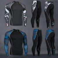 Wholesale Printed Football Jerseys - 2018 Men Gym Fitness Sports Elastic Stretch Training Suits Mallas Hombre Basketball Football Jersey Compression Running Set
