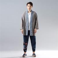 chinesische langarm bluse großhandel-Hisenky Langarm-Shirt Herren Kimono Cardigan Lässige Baumwoll-Leinen-Kleidung Chinesisch Hanfu Kontrast Farbe Bluse Trenchcoat