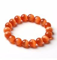 ingrosso braccialetto di pietra arancione-6/8 / 10mm 12mm opale naturale / alta qualità / gemme d'arancio Cat's Eye Bracciali per donna Natural Deep orange Opal stone bracelet