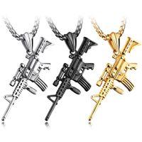 Wholesale rifle pendants resale online - Fashion Trendy Sniper Rifle Gun Pendant Necklace For Men s Silver Gold Black Color Neck Choker Stainless Steel Box Chain Jewelry
