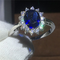 Wholesale Wedding Jewelry Sets Royal Blue - Royal Jewelry Princess Diana 100% Real 925 Sterling silver ring Blue 5A Zircon Cz Engagement wedding band rings for women Bridal