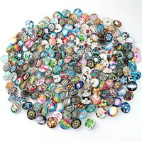 botones de presión mixtos al por mayor-PAPAPRESS 100 unids / lote Mixed Many Styles Snaps 18mm Botón a presión de cristal Botón Choker Botones Reloj Pulsera Snaps Joyería M781