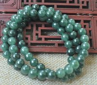 Wholesale plastic chain 8mm resale online - 8mm Natural A green Emerald Jade Pendant Necklace Have certificate