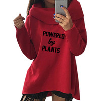 ingrosso piante primavera-New Fashion Spring Powered By Plants Vegan Print Tops Felpe con cappuccio Kawaii Felpe donna carina casual creativa ritagliata