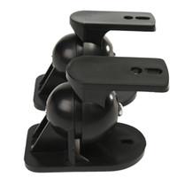 черные скобки оптовых-New Arrival 1 Pair Black ABS Plastic Sound Speaker Wall Mount Brackets 45 Degree Rotatable Design