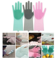 Wholesale clean beds online - Magic Silicone Rubber Dish Washing Gloves Eco Friendly Scrubber Cleaning Multipurpose Kitchen Bed Bathroom Washing Gloves KKA6028