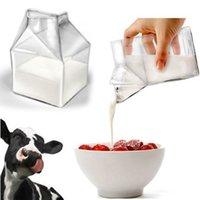 glaskannen großhandel-Kreative Transparente Glas Milch Box Milchkännchen Krug Dish Milch Tasse Trinken Becher Pulver Box Container Geschenk Drop verschiffen