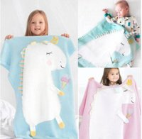 Wholesale boy girl bedding online - Kids Cute Unicorn Knitting Blanket Bedding Quilt Play Blanket Air Conditioning Blanket Boy Girls Knit Blankets Quilt CM KKA5585