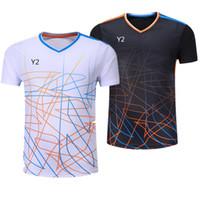 tischtennis kurz t-shirt großhandel-New Badminton Abnutzung T-Shirt, Männer und Frauen kurzärmelige Sportbekleidung Trikots schnell trocknend atmungsaktiv Tischtennishemd Kleidung Tennis Zug Hemd