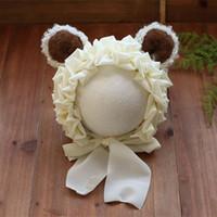 ingrosso animale del cofano del bambino-Vintage Beige Neonato Fiore Fiore Bonnet Newborn Floral Bonnet Baby Flower Hat Infant Animal Orso fotografia Puntelli